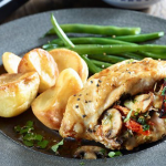Roast potatoes with chicken